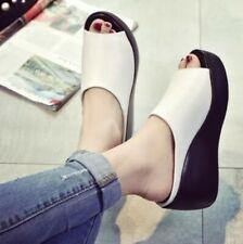 Womens Ladies Med Wedge Heels Platform Open Toe Slippers Summer Slides Shoes SZ