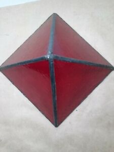 Interesting deep red stained glass pyramid table sculpture about 4.5 x 6 x 6