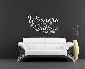 Wall art sticker Winner's never quit inspirational fitness gym inspiration quote