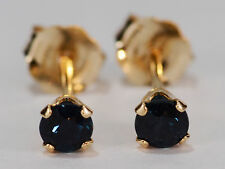 DAINTY! GENUINE NATURAL MINED BLUE SAPPHIRE EARRINGS~14 KT YELLOW GOLD~3MM