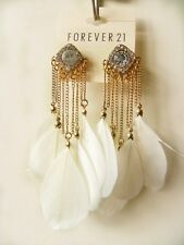 Forever21 Stunning Sparkling Rhinestone White Feathers Earrings/Ear Pins