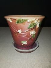 Roseville Pottery Snowberry Tuscany Pink Flower Pot And Saucer 1PS-5