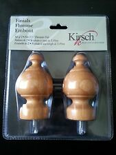 "ONE Pair 1 3/8""KIRSCH Warm Oak Screw-in Sherwood Finials #5609EG.086 Brand New"