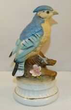 Music Box Bisque Large Blue Jay Tree Stump Pink Flower Plays Send In The Clown