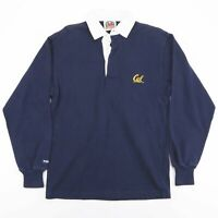 Vintage BARBARIAN Letterman Blue Long Sleeve Rugby Polo Shirt Men's Size Small