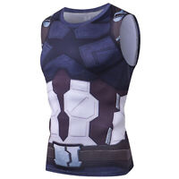 Men's Sleeveless Superhero Marvel Compression Gym Vest Tank Tops T-shirt Sports