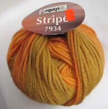 Martifil 7934~100% Lana Wool Stripe~Bulky Yarn~F-1659~Tan Gold Orange Multi~New
