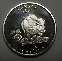 2005-S Kansas Gem DCAM Silver Proof State Quarter Stunning Coin