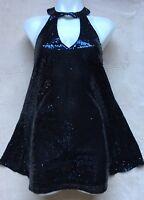 Lulu's Women's Halter Sequins Dress, SMALL. Navy Blue, Sparkly, Sleeveless, NEW