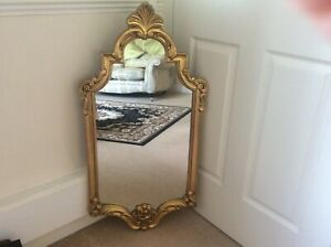 Gold Framed, Ornate Mirror. Attractive shape. VeryGood Condition.