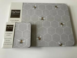 Set of 6 Grey Bumble Bee Placemats & Coasters Dining Dinner Table Mats