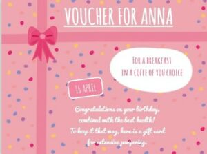 Personalised Custom Gift Card Voucher Printed 14 x 10.5 cm, Single Sided