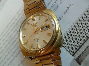 Vintage 1970's Men's Seiko 5 Automatic 21 Jewel Day Date Watch 6119-7140 Runs