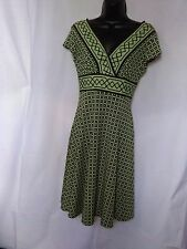 Dressbarn Sexy V-Neck Lime Green & Black Geometric Short Sleeve Dress  Size 4
