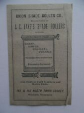 c.1882 Union Shade Roller Co. Window Hardware Advertising Pamphlet Philadelphia