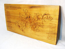 "Large 24"" Wood Carved Releif Topographic Map Of Lake Minnetonka - Minnesota USA"