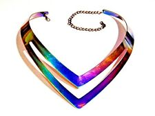 RAINBOW METAL CHOKER molded sculpted titanium AB avant garde cyber necklace Z2
