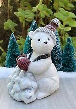Mini FAIRY GARDEN ~ Large North Pole CHRISTMAS Polar Bear w Snowballs Figurine