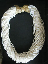MIMI diN 36 STRANDS SOFT WHITE BEADS W/TEXTURED GOLD TONE CLASP TORSADE NECKLACE