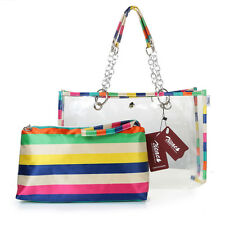 Women's Semi-clear Beach Wallet Colorful Tote Shoulder Bag Handbag Cosmetic Bags