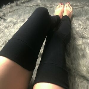 Long Cotton Legwarmers Black Leggings Knee Socks Leg Warmers Thigh Highs Womens