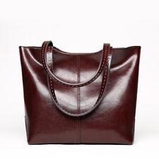 Leisure Women Cowhide Leather Handbag Work Shopping Tote Bags Large Shoulder Bag