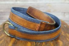 Vintage 70's Levis Jeans Denim Leather Brass Belt Orange Tab Size 30 26-28 waist
