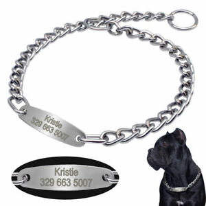Personalised Dog Training Collars Choke Chain Collar for Medium Large Dogs Boxer