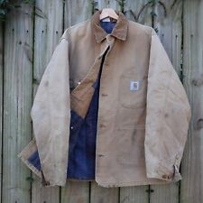 Vintage Carhartt Work Jacket Men's XL Tan Brown Chore Coat Blanket Lined USA