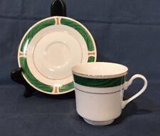 Sango Majesty Malachite #8420 Discontinued Pattern 8 Cups & Saucers Green & Gold