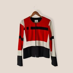 Joseph Ribkoff 14 Red Colourblock Stretch Zip Up Long Sleeve Blazer Jacket Women