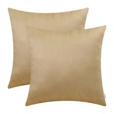 2Pcs CaliTime Tan Soft Pillow Cases Shell Cushion Covers Faux Suede 20x20 Inches
