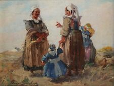 PIERRE CADRE-French Realist-Two Original Signed Oils-Dutch Figure Scenes