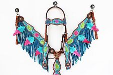 PURPLE TURQUOISE FRINGE WESTERN LEATHER HORSE BRIDLE HEADSTALL BREASTCOLLAR SET