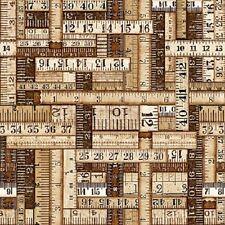 Dan Morris Thimble Pleasures Dark Tan Measuring Tape Cotton Fabric Yardage    H3