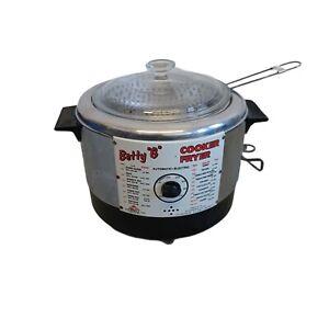 "Vintage Abbott Betty ""G"" Deep Fryer Cooker Model CF 53 Basket Glass Lid"