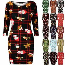 Ladies Womens Xmas Snowman Penguin Candy Reindeer Bodycon Christmas Mini Dress