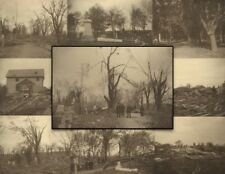 Nine 1902 Cabinet Cards: Tornado Damage in Greenmount Cemetery, Quincy Illinois