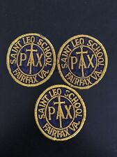 3 PAX Saint Leo School Fairfax VA Cross Crucifix Religious Cloth Patches Vintage
