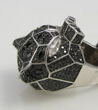 Vintage Massive Incredible Huge Sterling Silver Black White Sapphire Cat Ring
