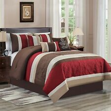 7 Piece Ravi Embossed and Pleated Comforter Set Bed-In-A-Bag (Queen, Burgundy)