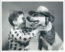 Cute Boy With Dog Wearing Straw Hat & Bandana Ewing Galloway Press Photo