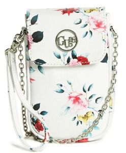 New GUESS White Pink Rose Floral Phone Case Crossbody Wristlet Bag