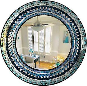 "24"" Round Wall Mirror of Turquoise, Sea Green, Emerald, Aqua Blue Rainbow Mirror"