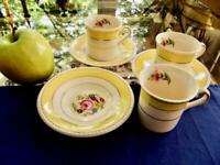 Set of 3 Fondeville Yellow Gold Floral Demitasse Cup & Saucers Ambassador Ware