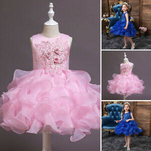 Embroidery Tutu Dress Flower Kids Girls Princess Wedding Party Gown Christmas