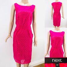 Womens NEXT Pink Midi Dress Crotchet Lace Size 16 Regular Sleeveless Party Cruis