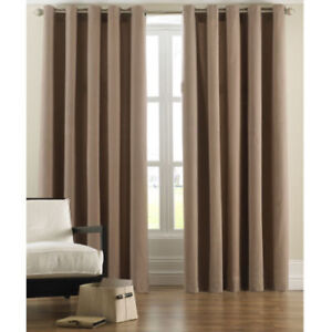CORD RING TOP CURTAINS BEIGE/CAMEL/MOCHA /COFFEE 100% COTTON