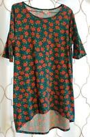 LuLaRoe Irma Tunic Top Size XS Extra Small Teal Red Tropical Floral Short Sleeve