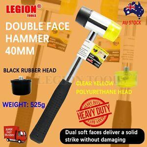 40mm Rubber Mallet Soft Face Hammer Double Side Grip Handle Shaft DIY No Harm